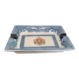 Rectangle Ceramic Blue Butterfly Border Ashtray For Sale