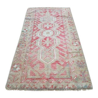 1970s Vintage Turkish Oushak Wool Runner Rug - 1′10″ × 3′8″ For Sale