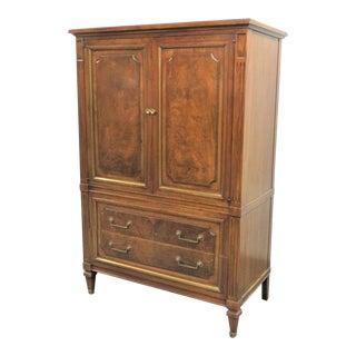 John Widdicomb Italian Style Burlwood and Walnut Chifferobe For Sale
