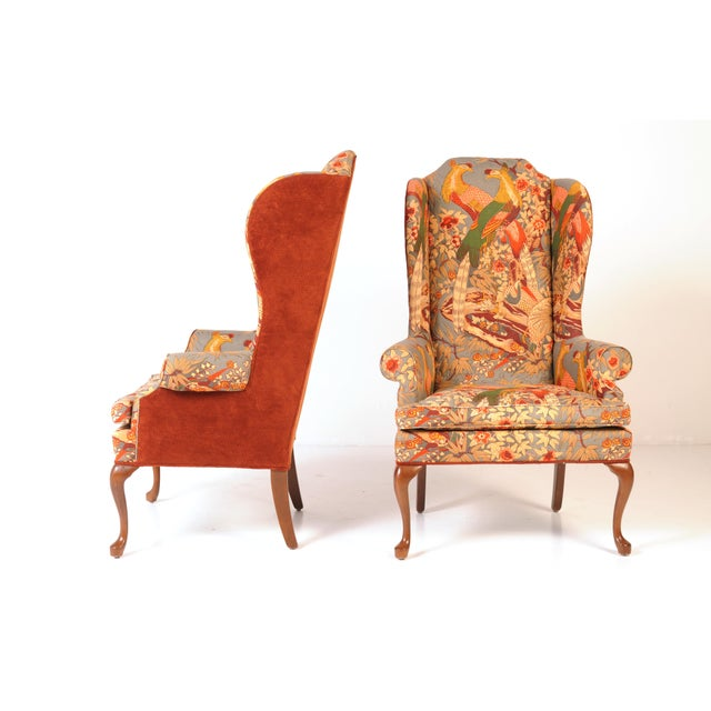 Asian Wingback Chairs in Quilted Peacock Fabric - A Pair For Sale - Image 3 of 9