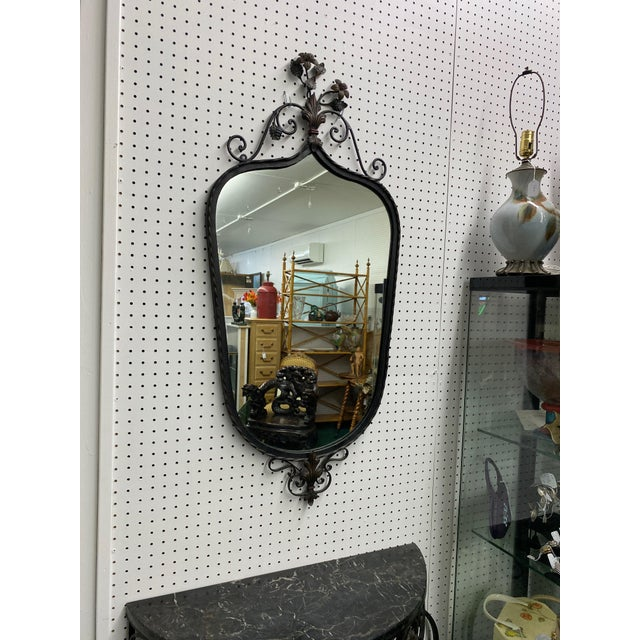 Early 19th C Hand Wrought Iron & Marble Console & Mirror Set For Sale - Image 4 of 6
