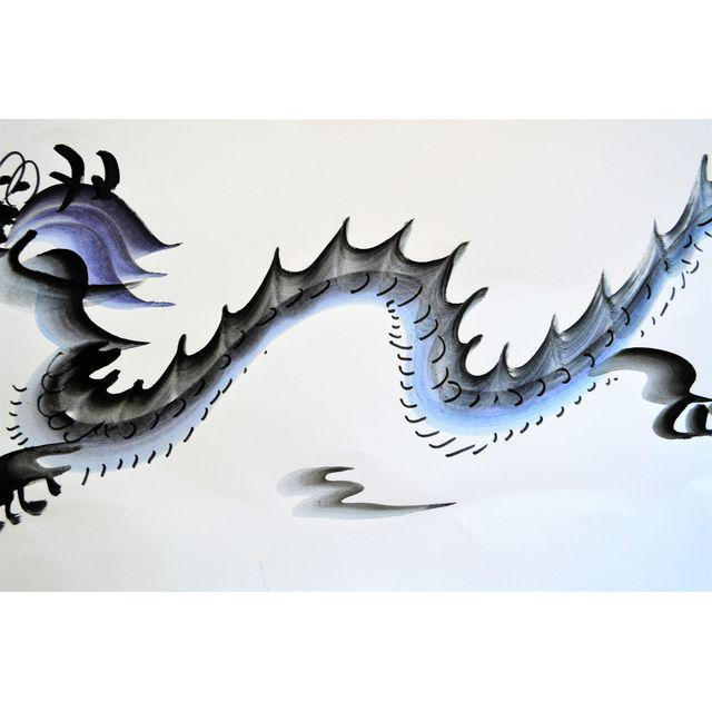 Asian Contemporary Chinese Calligraphy Dragon Signed Black on White For Sale - Image 3 of 7