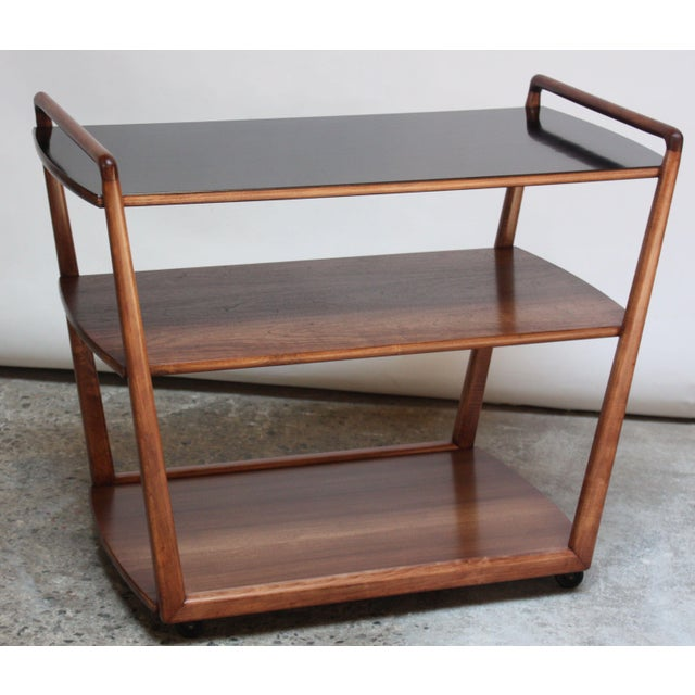 American Modern Walnut Three-Tier Rolling Bar / Tea Cart With Ebonized Surface For Sale - Image 13 of 13