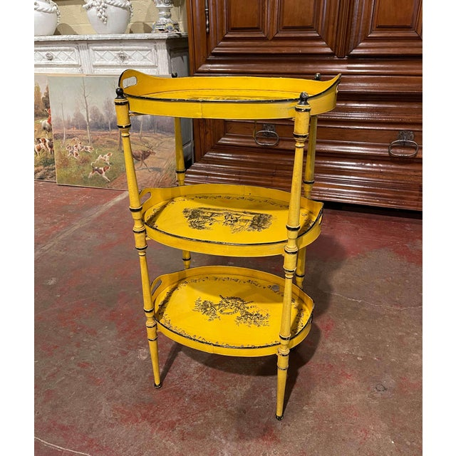 Yellow Mid-Century French Hand Painted Three-Tier Tole Side Table For Sale - Image 8 of 9