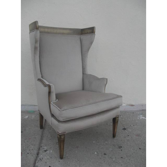 1960s Vintage Custom Upholstered Monumental Wingback Chair For Sale - Image 10 of 10