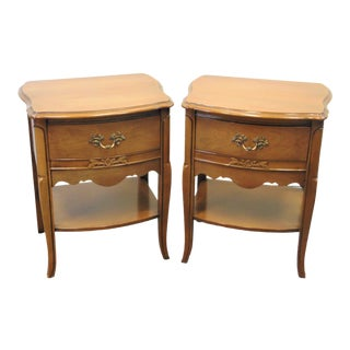 French Provincial Fruitwood Nightstands - a Pair For Sale