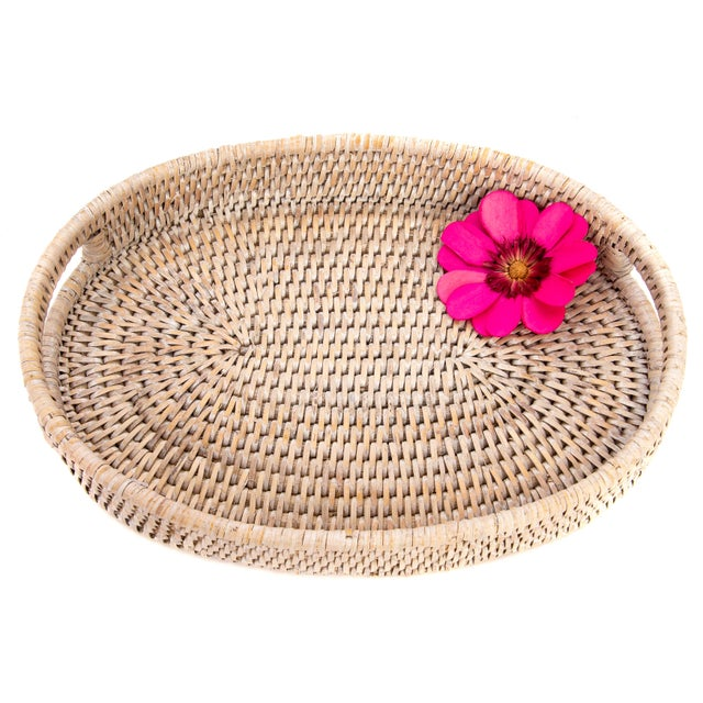 """Artifacts Rattan Oval Tray 10""""x8""""x1.5"""" For Sale - Image 4 of 5"""