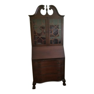 1940s Georgian Walnut Secretary Desk & Bookcase For Sale