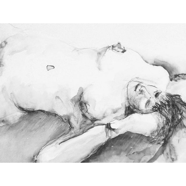 Classic Nude Ink & Charcoal Drawing - Image 2 of 3