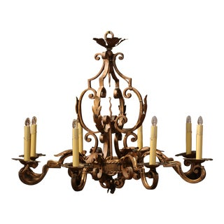 Early 20th Century French Louis XV Gilt Painted Iron Eight-Light Chandelier For Sale