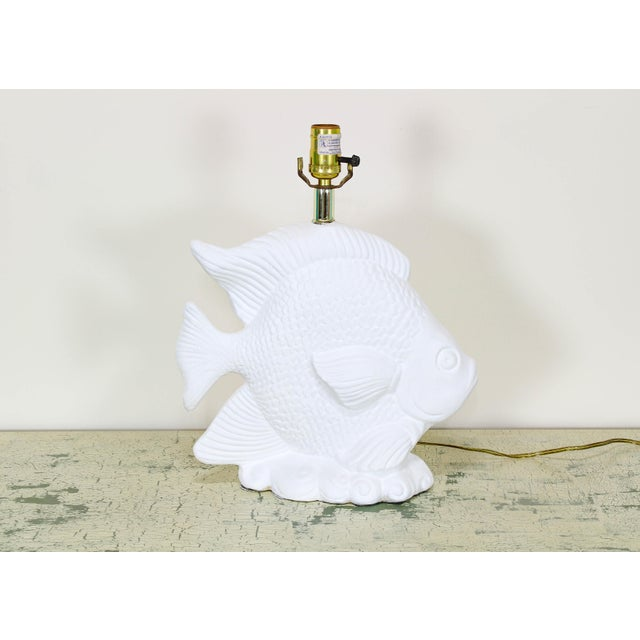 1970s 1970's White Plaster Gesso Fish Table Lamp For Sale - Image 5 of 5