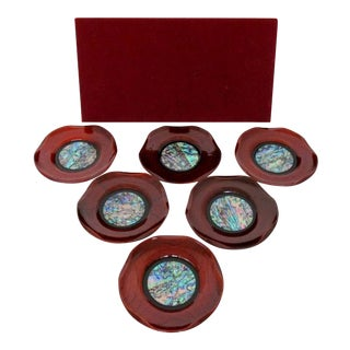 Faux Bois Lacquered Coasters, Set of 6 For Sale