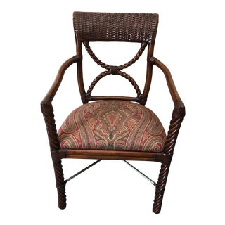Wood and Rattan Armchair With Paisley Upholstery For Sale