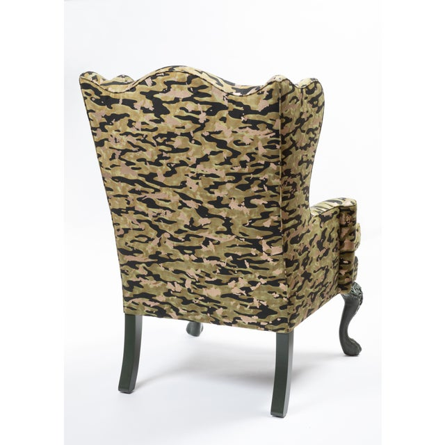 Wing Chair in Fortuny Fabric For Sale In New York - Image 6 of 7
