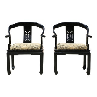 1960s Ming Style Black Lacquered Horseshoe Chairs - a Pair