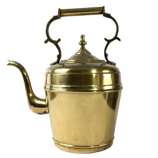 Early 20th Century Large European Antique Brass Kettle For Sale