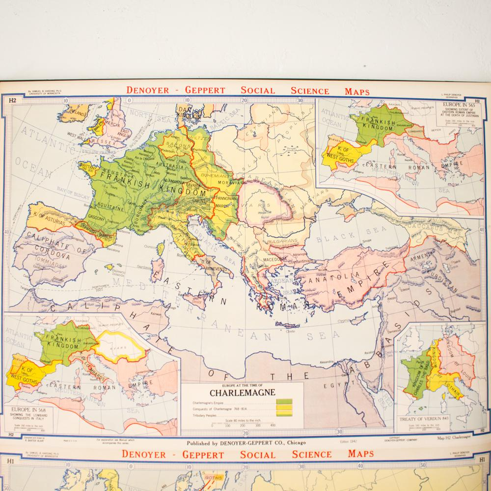 Map Of Europe For Sale.Oversized Industrial Pull Down Map Of Europe During Charlemagne