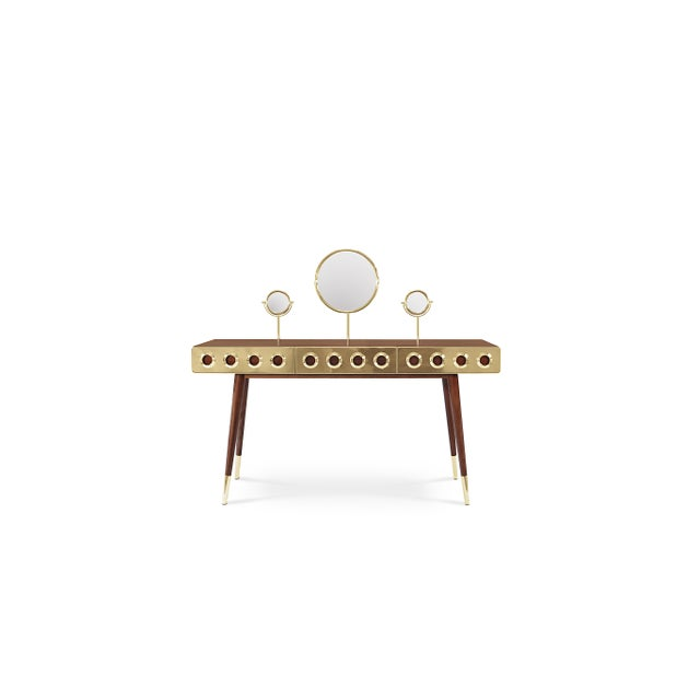 The ultimate dressing table is the ultimate gadget every mid‐century modern sleek interior should have. Golden brass...