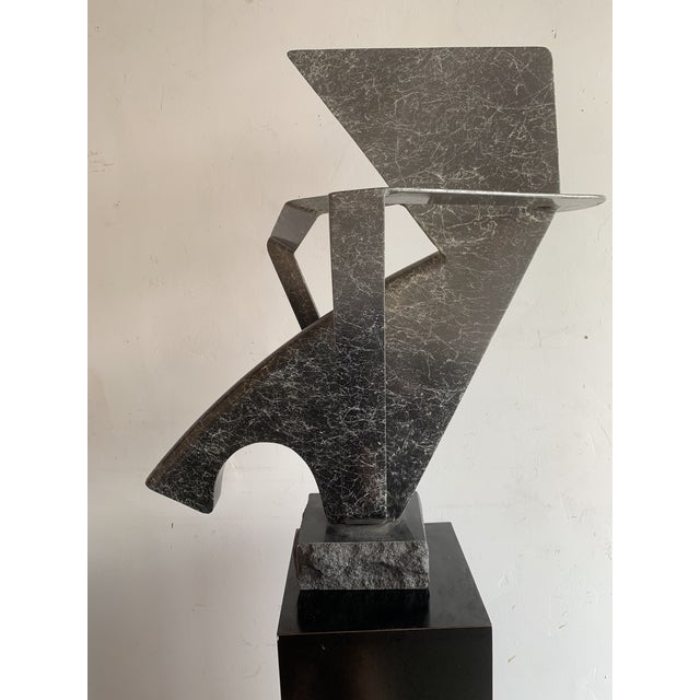 Sam Radoff Painted Steel and Granite Abstract Sculpture For Sale - Image 12 of 12