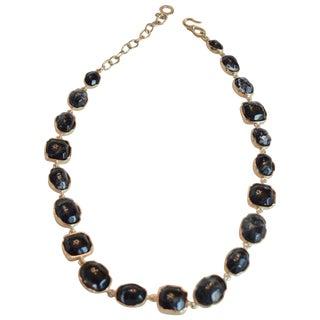 Goossens Paris Dark Blue Tinted Rock Crystal Necklace For Sale