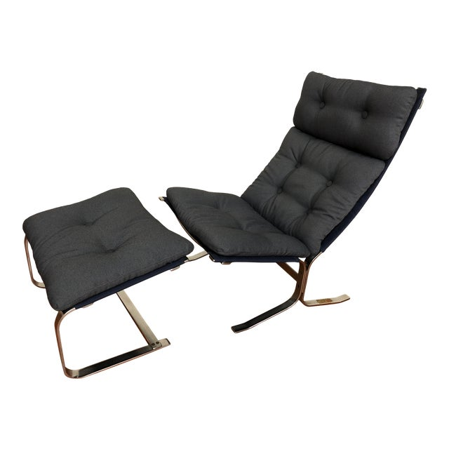 Danish Vintage Metal Lounge Chair and Ottoman Newly Upholstered For Sale