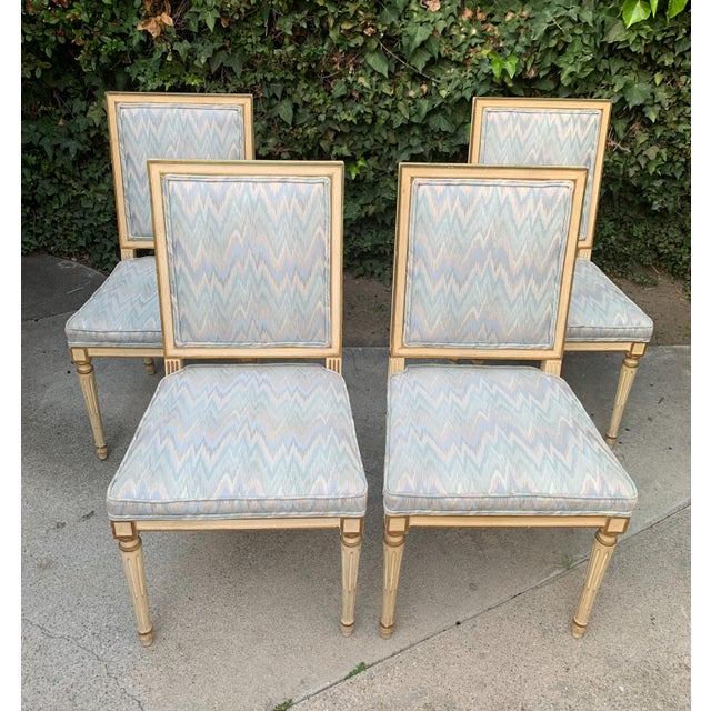 Baby Blue Hollywood Regency Dining Chairs With Blue Upholstery - Set of 4 For Sale - Image 8 of 8