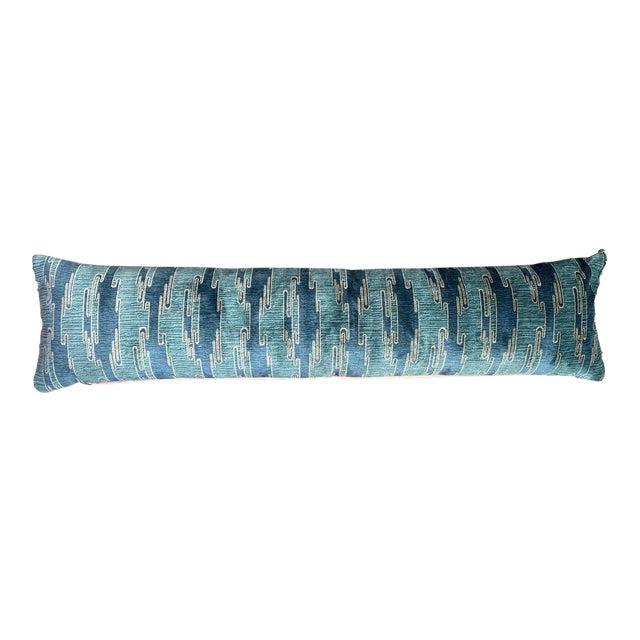 Sora Velvet Lumbar Pillow With Ivory Silk Back For Sale