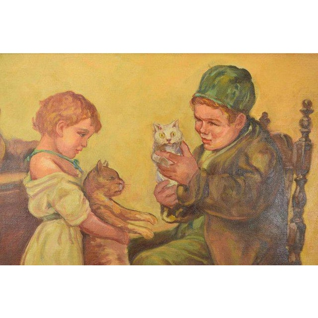 """1920's Large """"Brother Sister Playing W Cats"""" Oil Painting Signed Lawson For Sale - Image 4 of 6"""