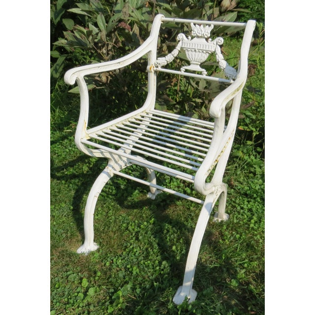 1900s Karl Friedrich Schinkel Style Neoclassical Cast Iron Patio Suite - 4 Pc. Set For Sale - Image 9 of 13