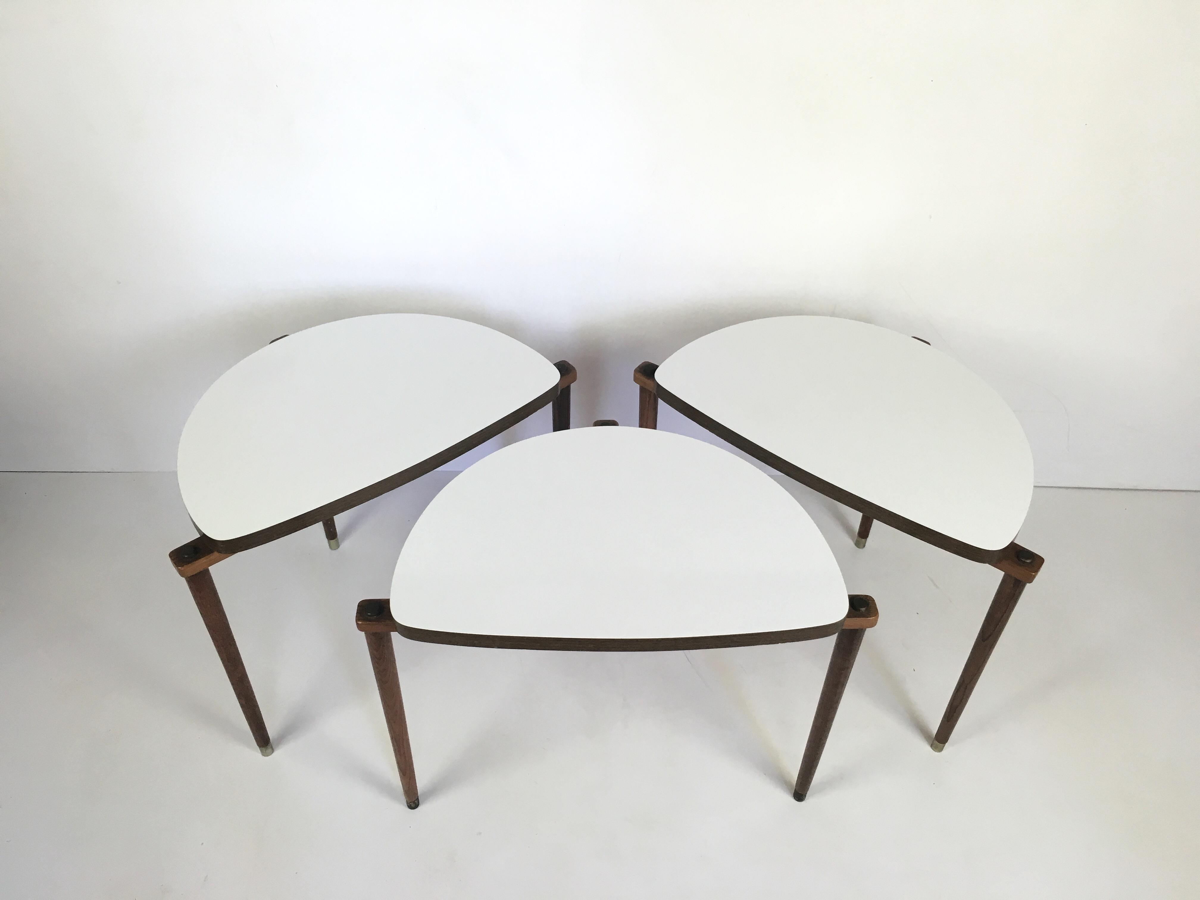 Mid Century Modern Nesting Tables Half Moon S/3   Image 6 Of 8