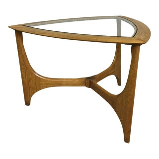 Lane Glass and Oak End Table For Sale