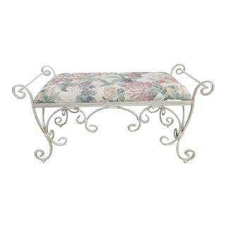 Shabby Chic Large Vintage Distressed Painted Metal Upholstered Bench Stool For Sale