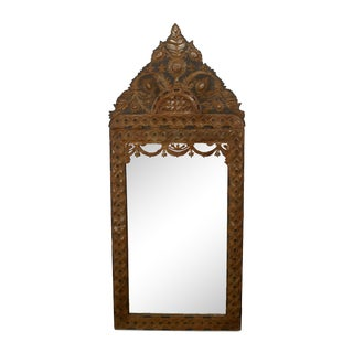1920s Mexican Stamped Metal and Ebonized Wood Wall Mirror For Sale