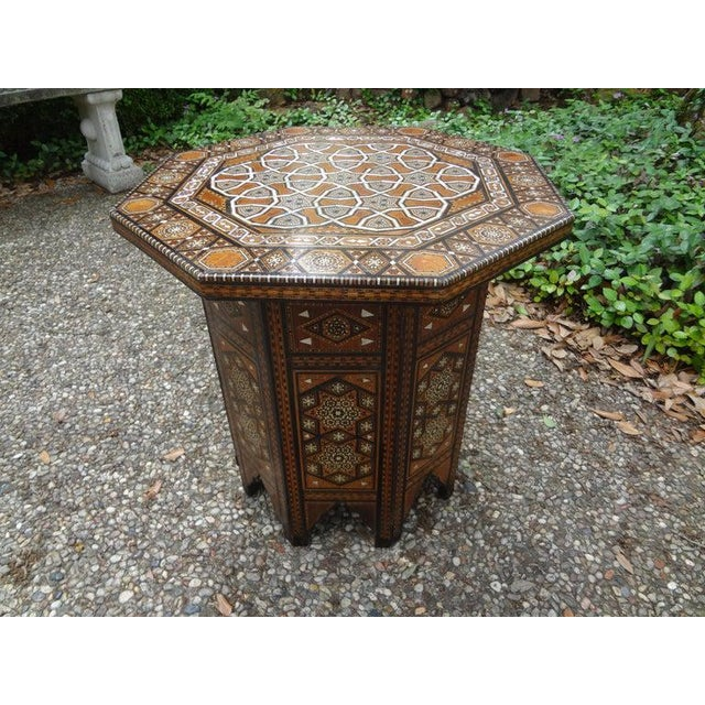 Islamic Antique Middle Eastern Arabesque Style Mother of Pearl Inlaid Table For Sale - Image 3 of 13