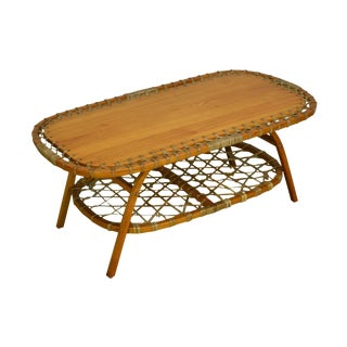 "Snocraft Bentwood Hickory & Rawhide Oval ""Snowshoe"" Coffee Table For Sale"