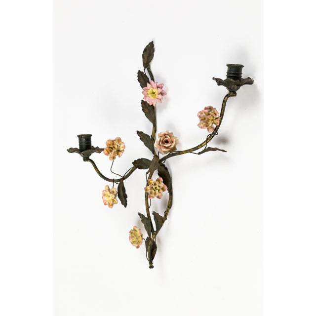 French Tole and Porcelain Floral Wall Hanging Candle Holders - A Pair For Sale - Image 3 of 13