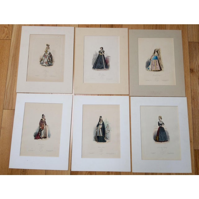 """19th Century Century Antique French Original Engraving Historic Fashion Plate, Hand-Tinted - """"Femmes Arabes."""" For Sale In Los Angeles - Image 6 of 11"""