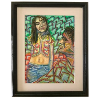 Vintage Modernist Pastel Drawing of Hippie Bohemian Couple For Sale