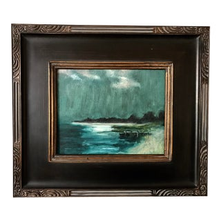 Vintage American Impressionist Painting Moonlight Beach Nocturne New York by Harry Barton For Sale