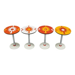 Vintage Orange Yellow White Geometric Pattern Round Side Tables - Set of 4 For Sale