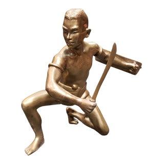 Circa 1930 Siamese Krabi-Krabong Martial Artist Brass Figurine For Sale