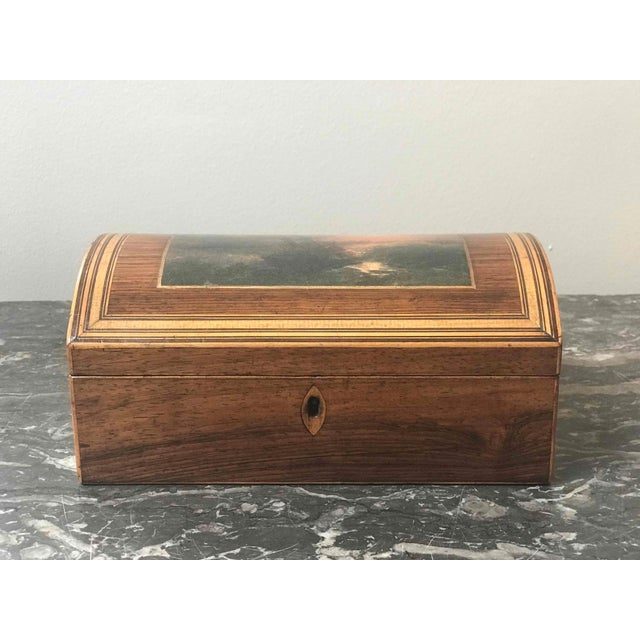 Traditional Wooden Dome Box With Seascape Scene From 1880s England For Sale - Image 3 of 7