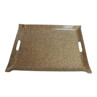 Vintage Plastic Serving Tray in Wicker For Sale