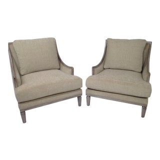 Chenille Ceruse Gray Lounge Chairs - A Pair For Sale