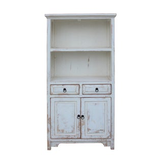 Oriental Distressed Cream Off White Open Shelf Bookcase Cabinet For Sale