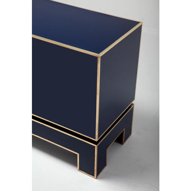 Gold Brass and Blue Two-Door Cabinet Maison Jansen For Sale - Image 8 of 12
