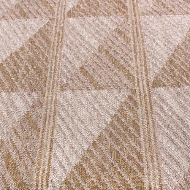 Mid-Century Modern Scandinavian Style Geometric Beige Brown Wool Kilim Rug For Sale - Image 3 of 6