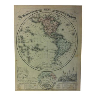 "1880s Antique Mitchell's Modern Atlas ""The Western Hemisphere on an Equatorial Projection"" For Sale"
