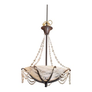 Contemporary French Alabaster Bowl Chandelier For Sale