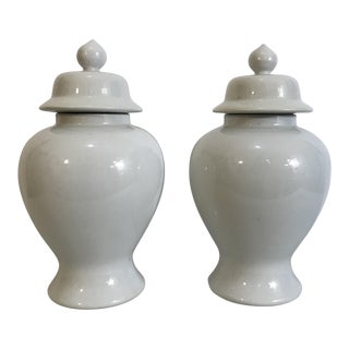 1920s Chinoiserie Republic Period White Ginger Jars - a Pair For Sale